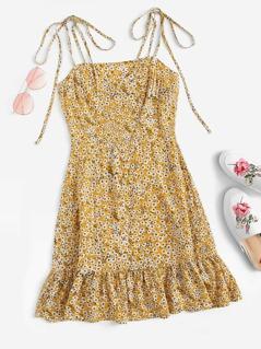 Knot Shoulder Ruffle Hem Floral Dress