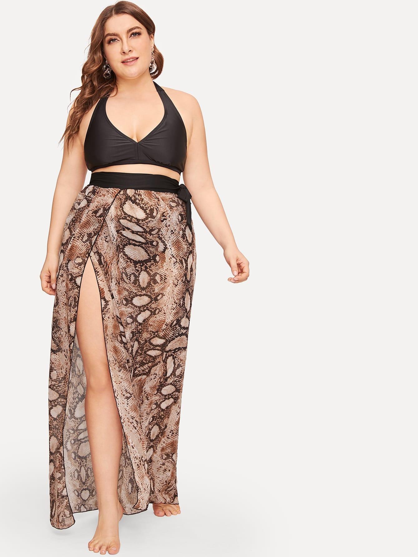 Купить Размер плюс юбка с змеиным принтом и разрезом сбоку, Franziska, SheIn