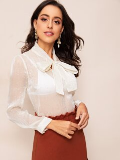 Tie Neck Star Sheer Top Without Bra