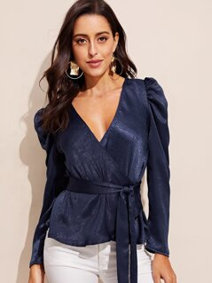 Puff Sleeve Surplice Wrap Belted Top