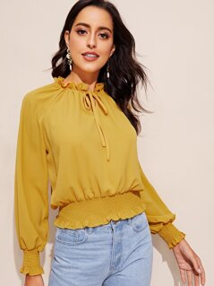 Frilled Tie Neck Smocked Hem Top