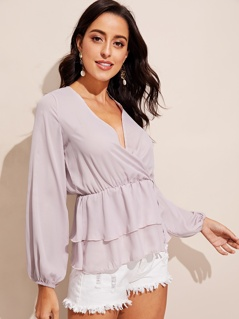 Surplice Neck Wrap Layered Ruffle Hem Top