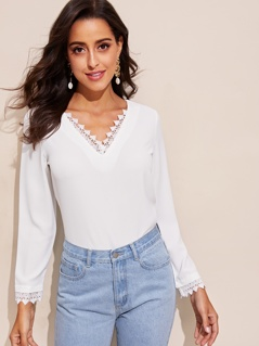 Tied Back Lace Trim Solid Top