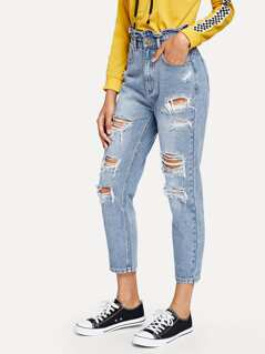 Ruffle Waist Distressed Jeans