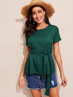 Rolled Up Sleeve Self Belted Top
