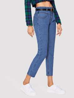 High Waist Pocket Patched Crop Jeans