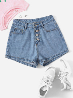 Pocket Detail Buttoned Fly Denim Shorts