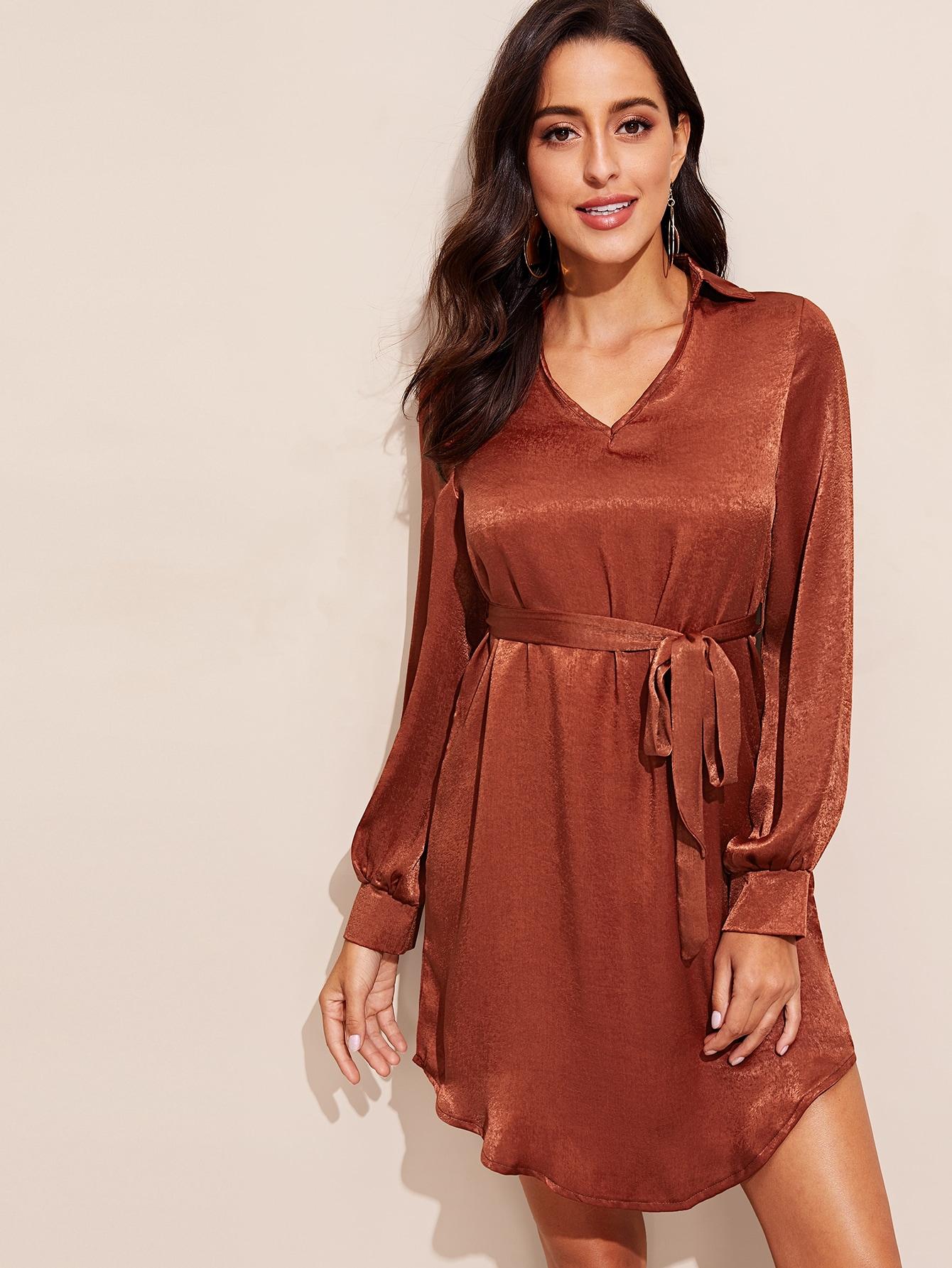 Купить Платье с v-образным вырезом и оригинальным рукавом и поясом, Mary P., SheIn