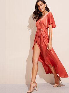 High Split Wrap Belted Satin Dress