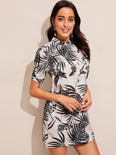 Buttoned Neck Palm Leaf Print Dress