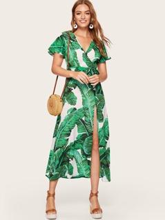 Surplice Neck Split Thigh Jungle Leaf Dress