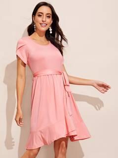 Petal Sleeve Ruffle Hem Belted Solid Dress