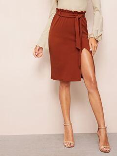 Paperbag Waist Split Hem Belted Skirt