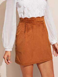 Scallop Trim Wide Waist Suede Skirt