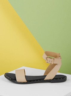 Metal Detail Open Toe Buckled Ankle Strap Sandals