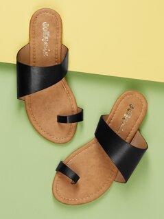 Asymmetric Slide On Wide Band Flat Sandals