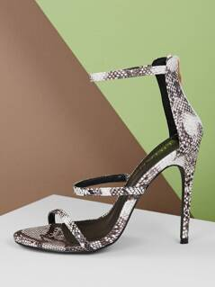 Snake Embossed Strappy High Heel Sandals