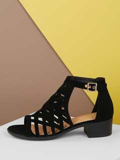 Laser Cut Out Open Toe Low Stacked Heel Sandals
