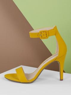Open Toe Side Buckle Stiletto Heels