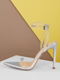 Clear Straps Holographic Feature High Heels