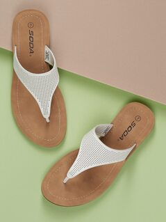 Perforated T-Strap Slide On Flat Sandals