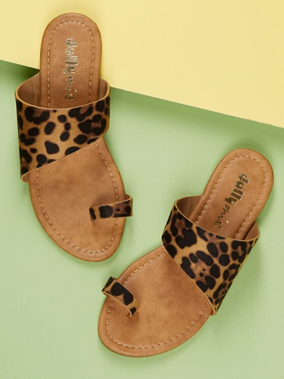 2609d37db006 Toe Ring Leopard Wide Band Slide On Sandals | MakeMeChic.COM