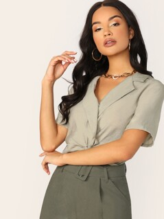 Surplice Twist V-Neck Elastic Hem Crop Top