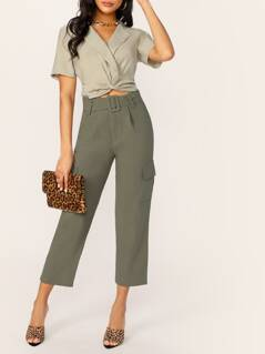 Belted Waist Side Cargo Pocket Pants