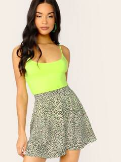 Flared A-Line Mini Leopard Skirt