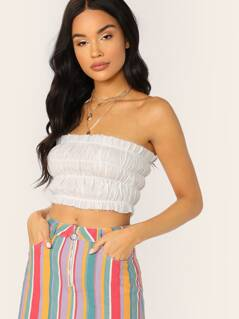 Ruffle Raw Edge Elastic Smocked Crop Tube Top