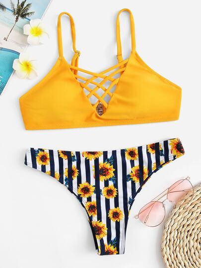Criss Cross Top Floral Print Bikini Set