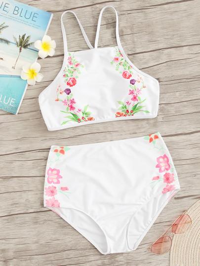 Floral Criss Cross Top High Waist Bikini