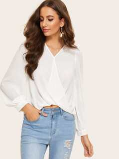 Surplice Wrap Draped Solid Top