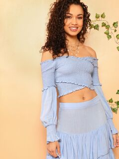 Cross Wrap Shirred Crop Top