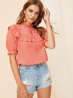Tie Neck Ruffle Bib Schiffy Top