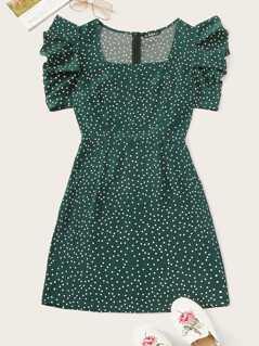 Gathered Sleeve Polka Dot Dress
