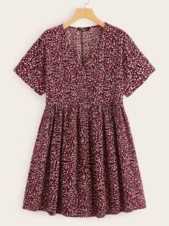 Button Through Printed Flare Tea Dress