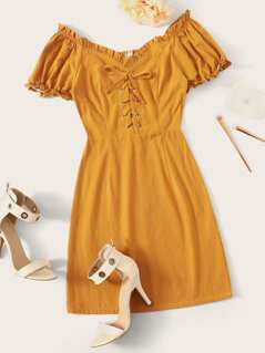 Ruffle Trim Lace Up Front Form Fitted Dress