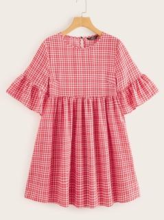 Flounce Sleeve Gingham Print Smock Dress