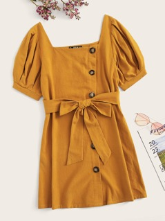 Button Front Puff Sleeve Dress With Belt