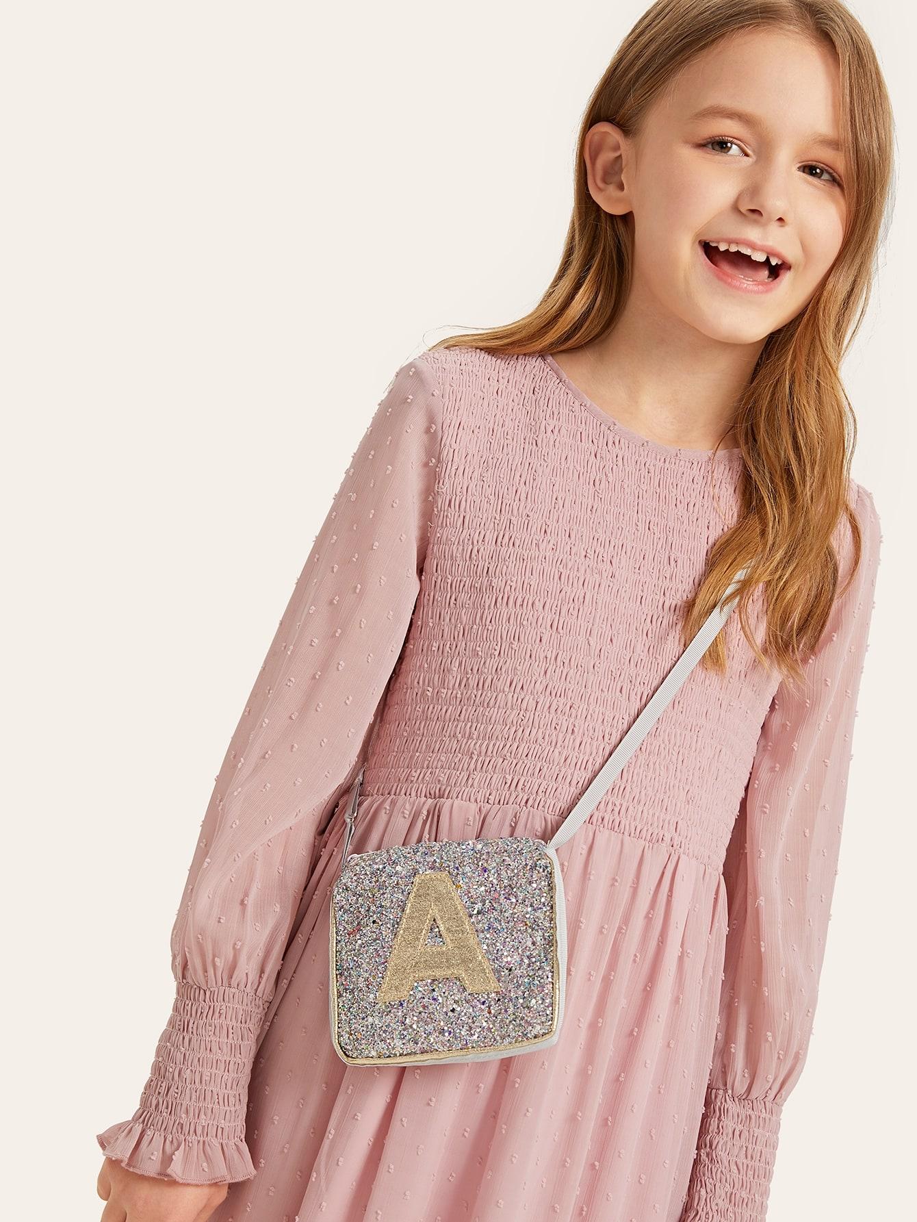 Купить Девочки случайные буквы блестящая сумка через плечо, null, SheIn