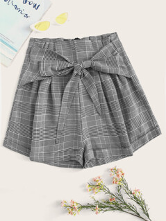 Knot Front Plaid Shorts