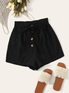 Embroidered Eyelet Button Front Knot Shorts