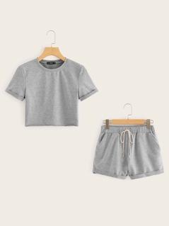 Heather Grey Crop Top and Drawstring Waist Shorts Set