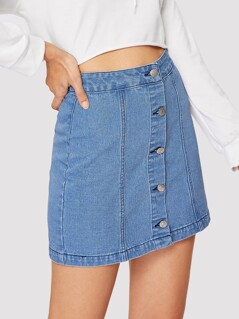 Single Breasted Bodycon Denim Skirt