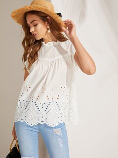 Frill Neck Schiffy Eyelet Scallop Top