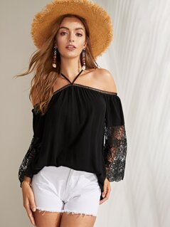 Lace Insert Solid Strappy Top