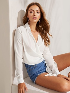 Surplice Neck Knot Side Blouse
