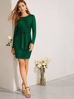 Knot Front Solid Ribbed Knit Dress