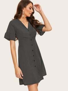 Single Breasted Flounce Sleeve Polka Dot Dress